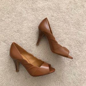 Sezane. Peep Toe Heels. Brown.